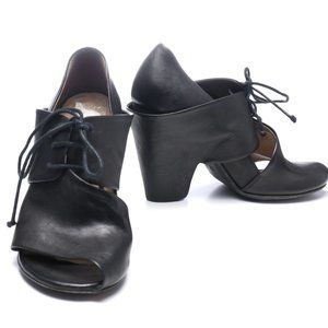 Marsell black soft leather open-toe shoes/booties